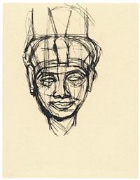 étude d'après la tête de la déesse mut, [egyptian museum, cairo] by alberto giacometti